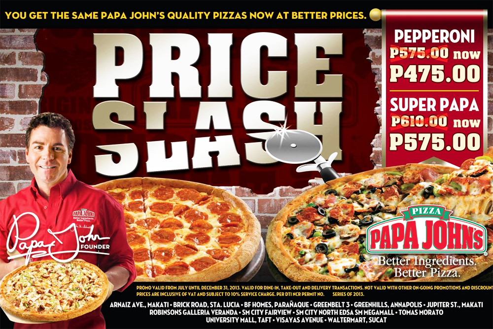 papa john's pizza promo price slash