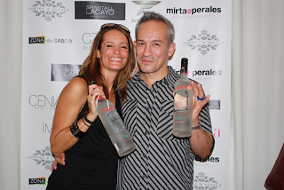 Designer Cesar Galindo with  Serena Fill fromTequila Semental, Cocktail Sponsor of Latinista Fashion Week SS14 New York City