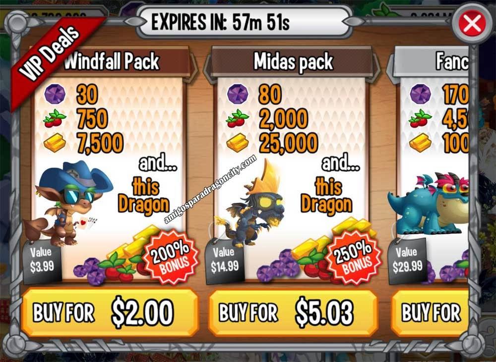 imagen de las ofertas windfall pack y midas pack de dragon city ios y dragon city android
