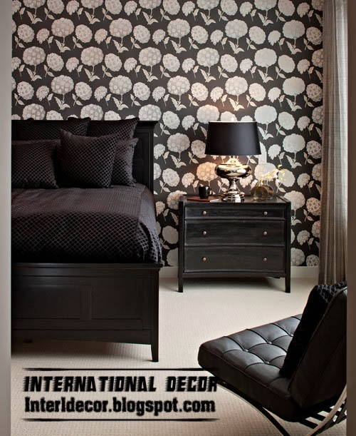 Black and white wallpaper flower patterns for interior design
