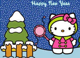 Gambar Hello Kitty 2015 Wallpaper HD Lucu Happy New Year Selamat Tahun Baru 2015