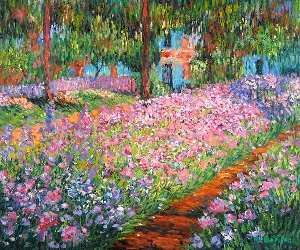 Art artist 39 s garden at giverny by claude monet for Garden painting images