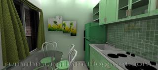 kitchen set mungil minimalis hijau menyatu dengan meja makan