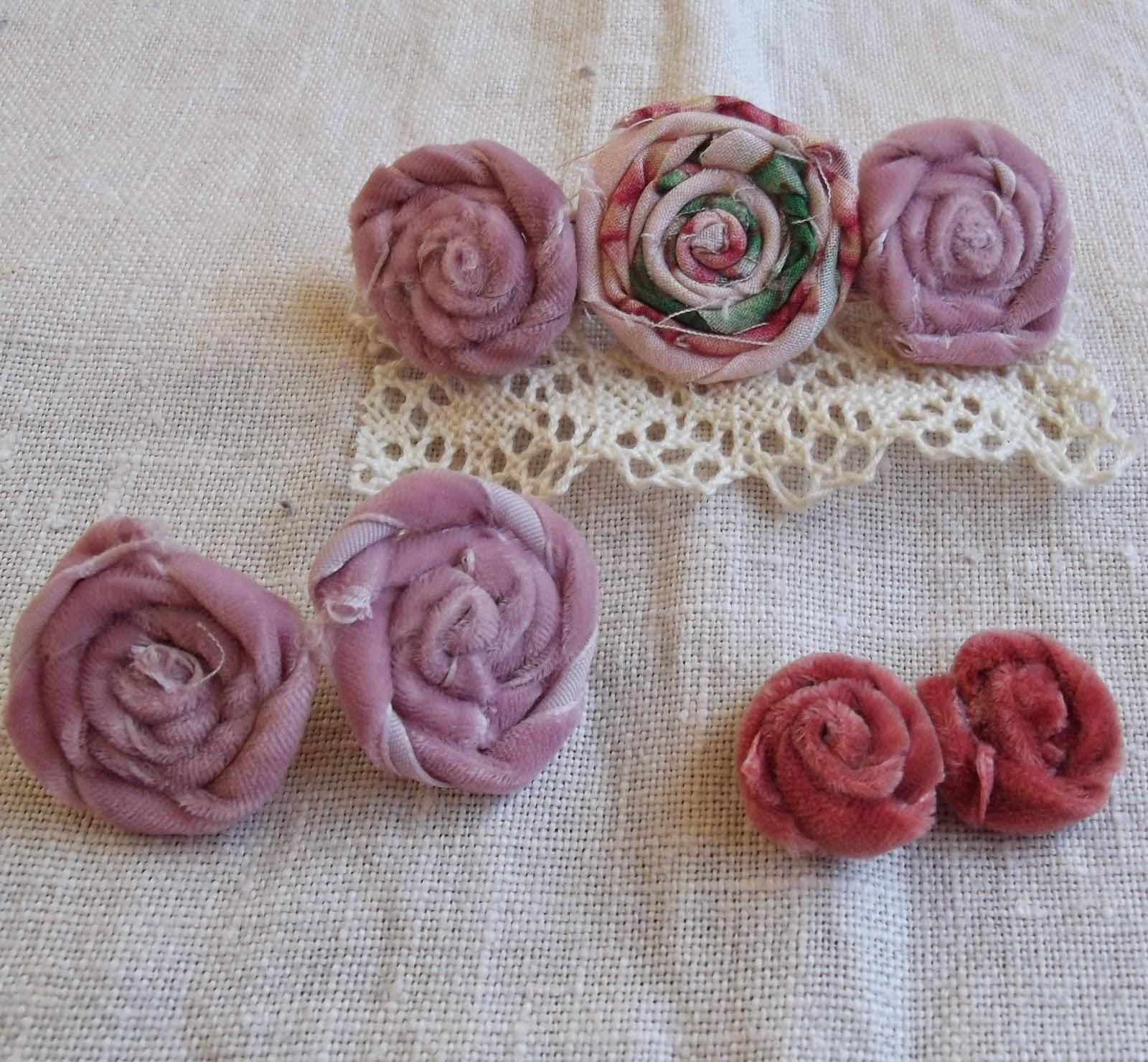 rag rolled rose stud earring tutorial velvet ribbon rose hairclip