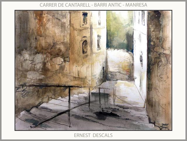 MANRESA-BARRI ANTIC-PINTURA-CARRER CANTARELL-PAISATGES-PINTURES-CARRERS-QUADRES-PINTOR-ERNEST DESCALS-