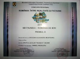 """Premiul al III-lea, obţinut de  Bogdan Munteanu, ( XI C), - """"România între realitate şi ficţiune"""""""