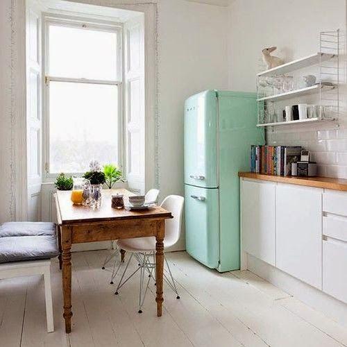 Mint green SMEG fridge
