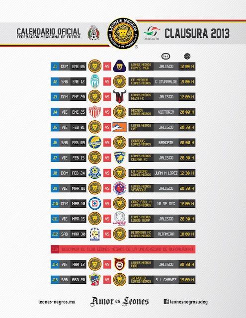 Calendario Oficial Leones Negros