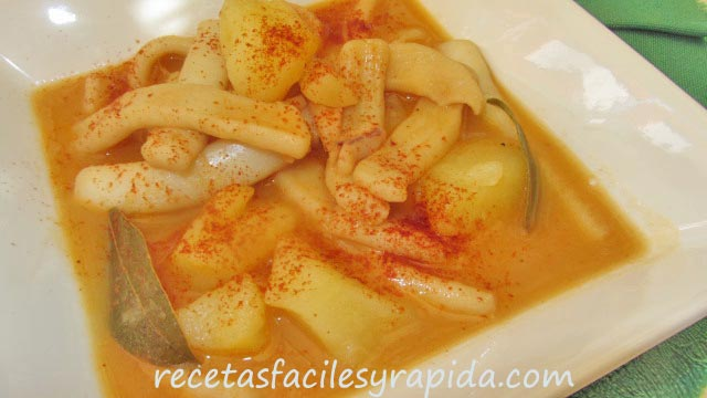 patatas con calamar