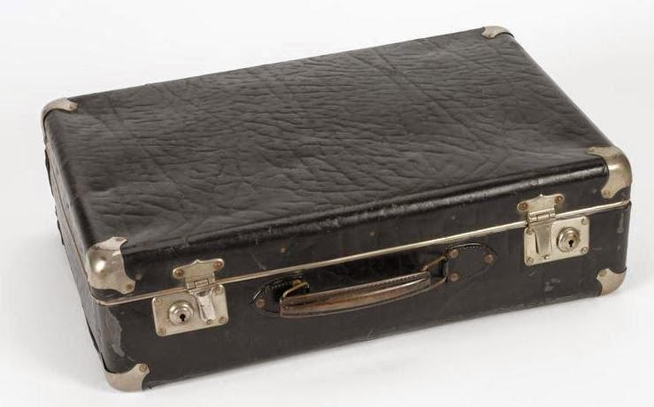 Suitcase containing Waldberg's transmitter/receiver.  Josef's set would have been housed in a similar attaché case.  (Imperial War Museum - COM 1500)