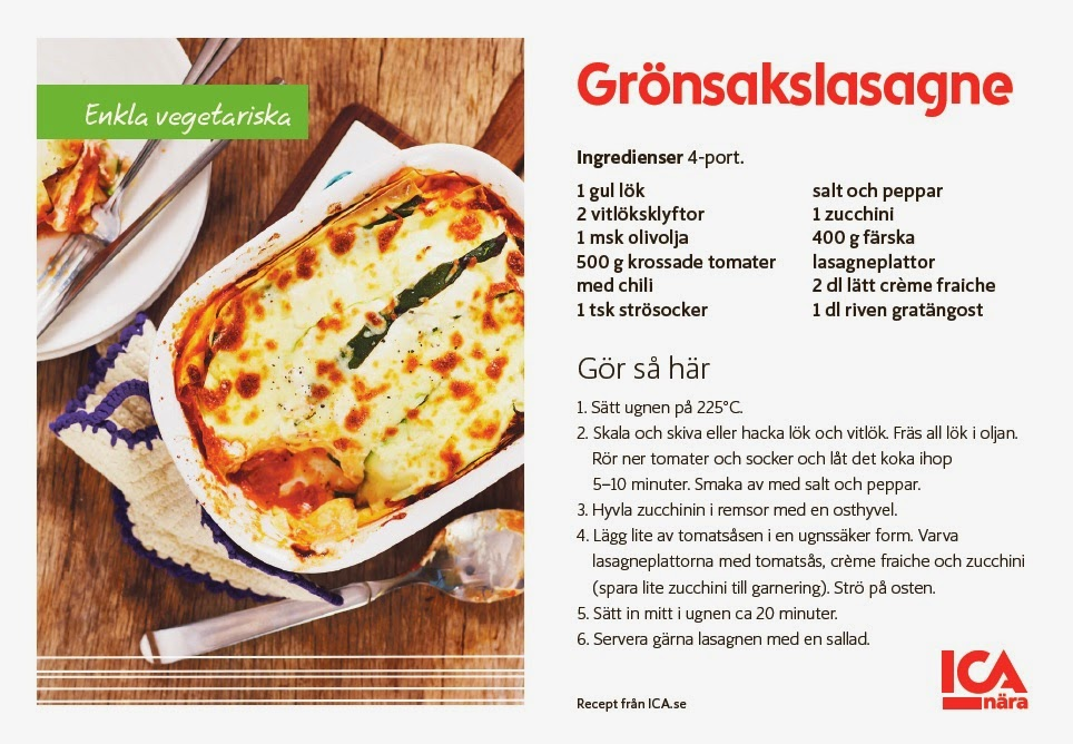 ica recept lasagne