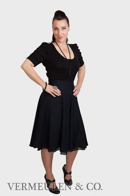 Dark Navy Wool Gabardine Circle Skirt