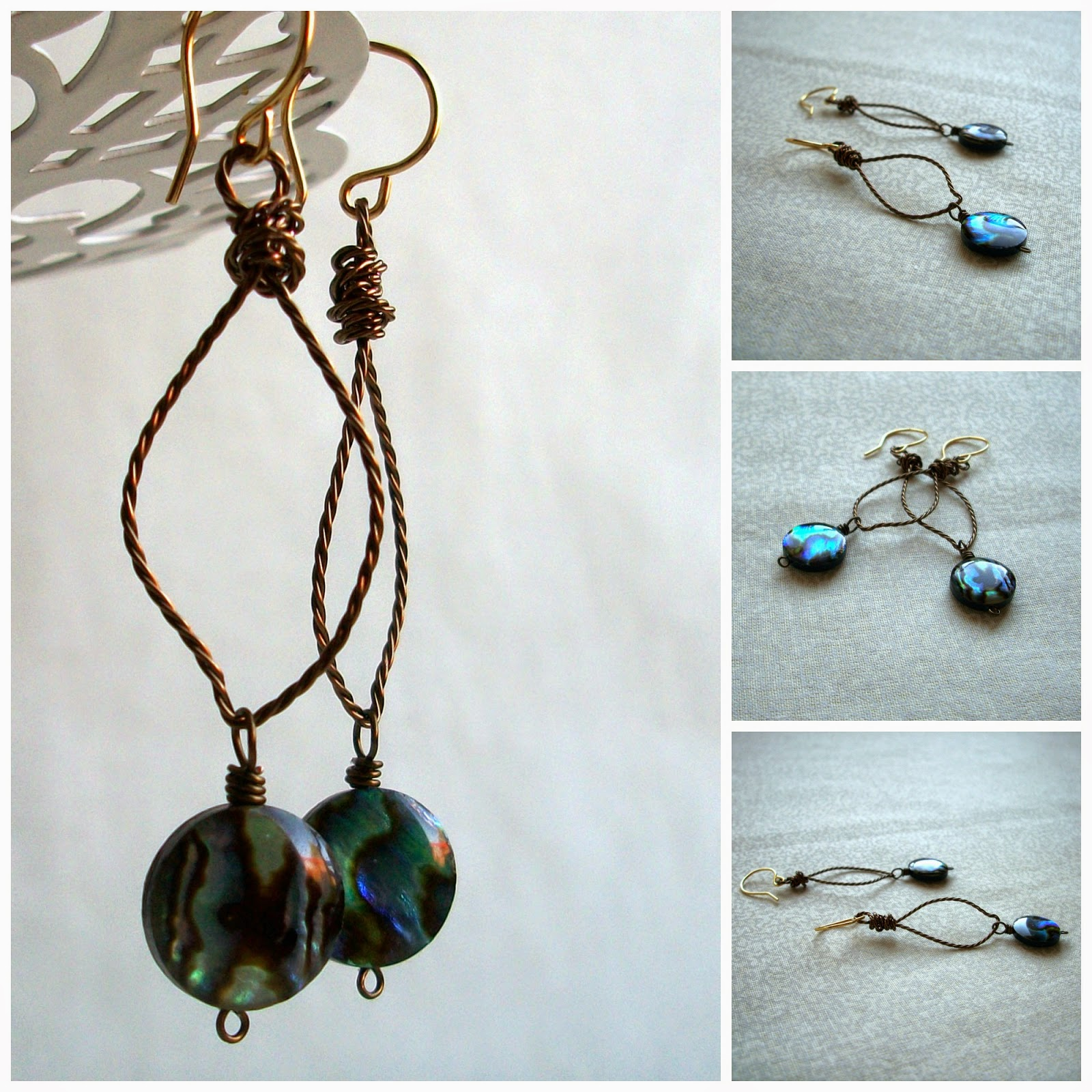 Flower Petal Earrings with Abalone Shell Dangles