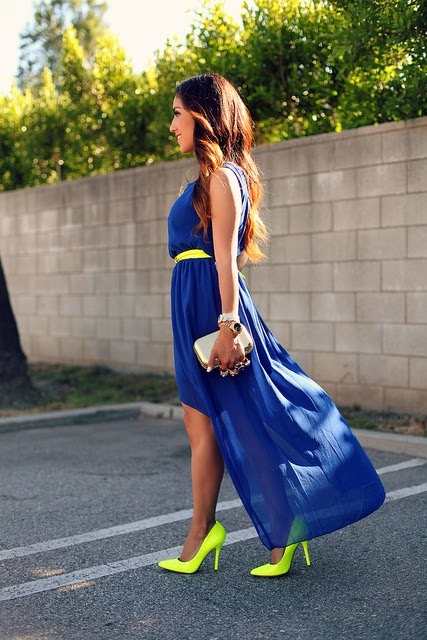 Blue Royal Dress With Belt And Lime Color Heel Shoes