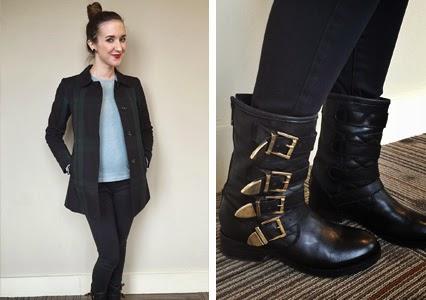 moto boots, black buckle boots, plaid jacket, plaid trench coat, top knot, nashville fashion, nashville style, nashville blogger