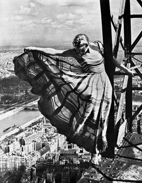 Lisa Fonssagrives on the Eiffel Tower, 1939