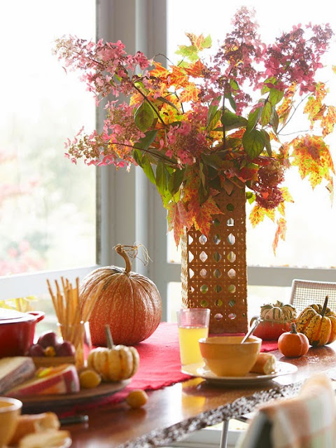 Embrace The Bounty Of Beautiful Fall Colors With A Seasonal Tablescape. The  Star Of This Table Is A Stunning Arrangement Of Late Blooming Flowers Mixed  With ...