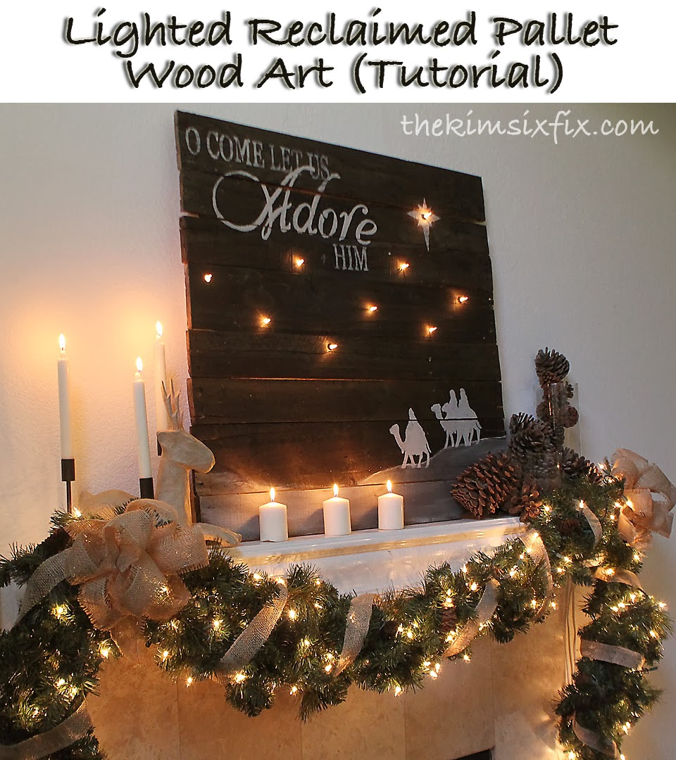 Lighted Reclaimed Lumber Christmas Sign (Tutorial) - The Kim Six Fix