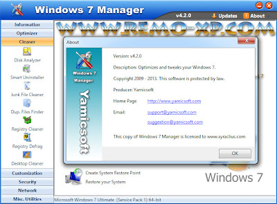 Yamicsoft Windows 7 Manager 4.2.0 Full Keygen