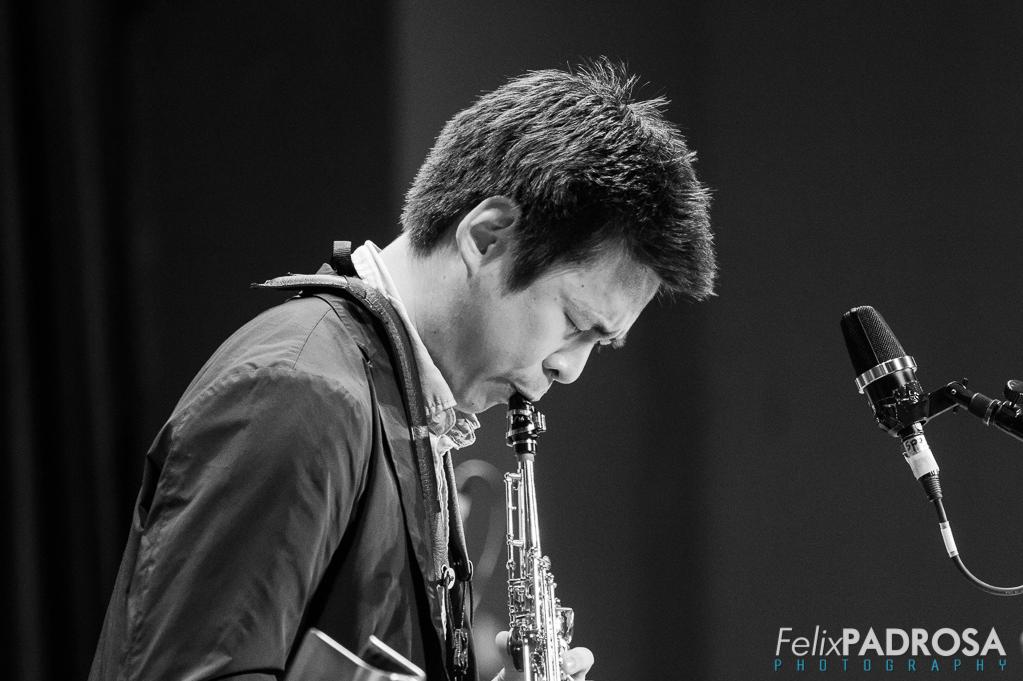 Kevin Sun soprano saxophone close up