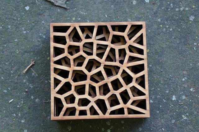 stacked voronoi pattern bamboo coasters
