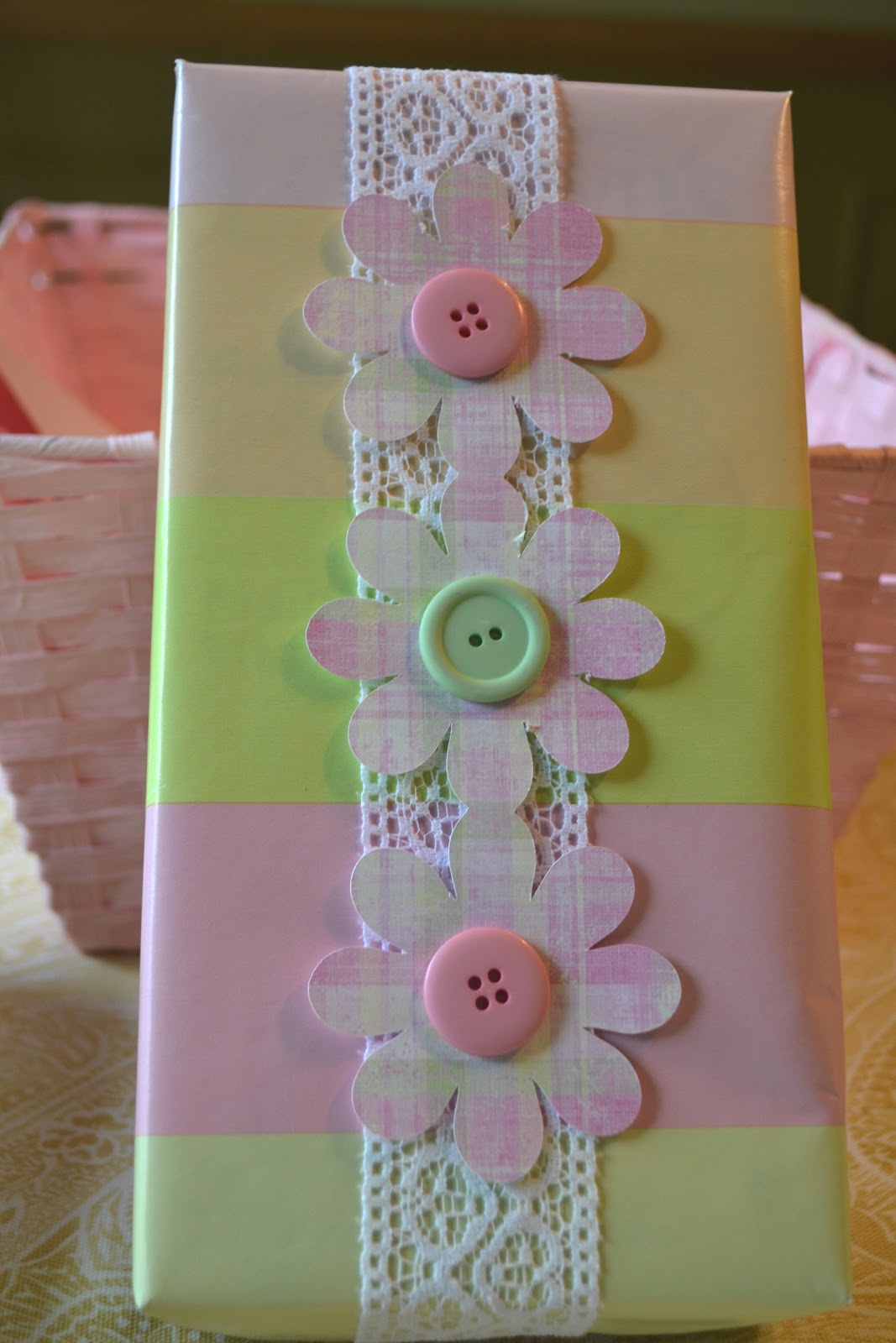 Baby Shower Gift Packaging Ideas : Corner of plaid and paisley baby shower gift wrap