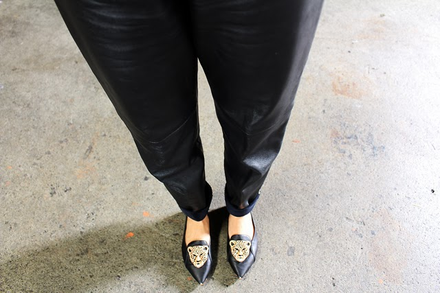 Vancouver fashion blogger Jasmine Zhu wearing vintage leather pants and shoes from Necessary Clothing
