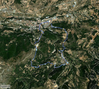 Mapa satelite del duro trazado del a prueba subida al pico del Águila