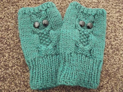 Owl Fingerless Mitts for Eleanor
