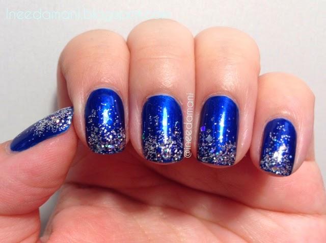 essie aruba blue and silver glitter gradient nails