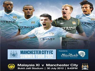 KEPUTUSAN PENUH MANCHESTER CITY VS MALAYSIA 30 JULAI 2012