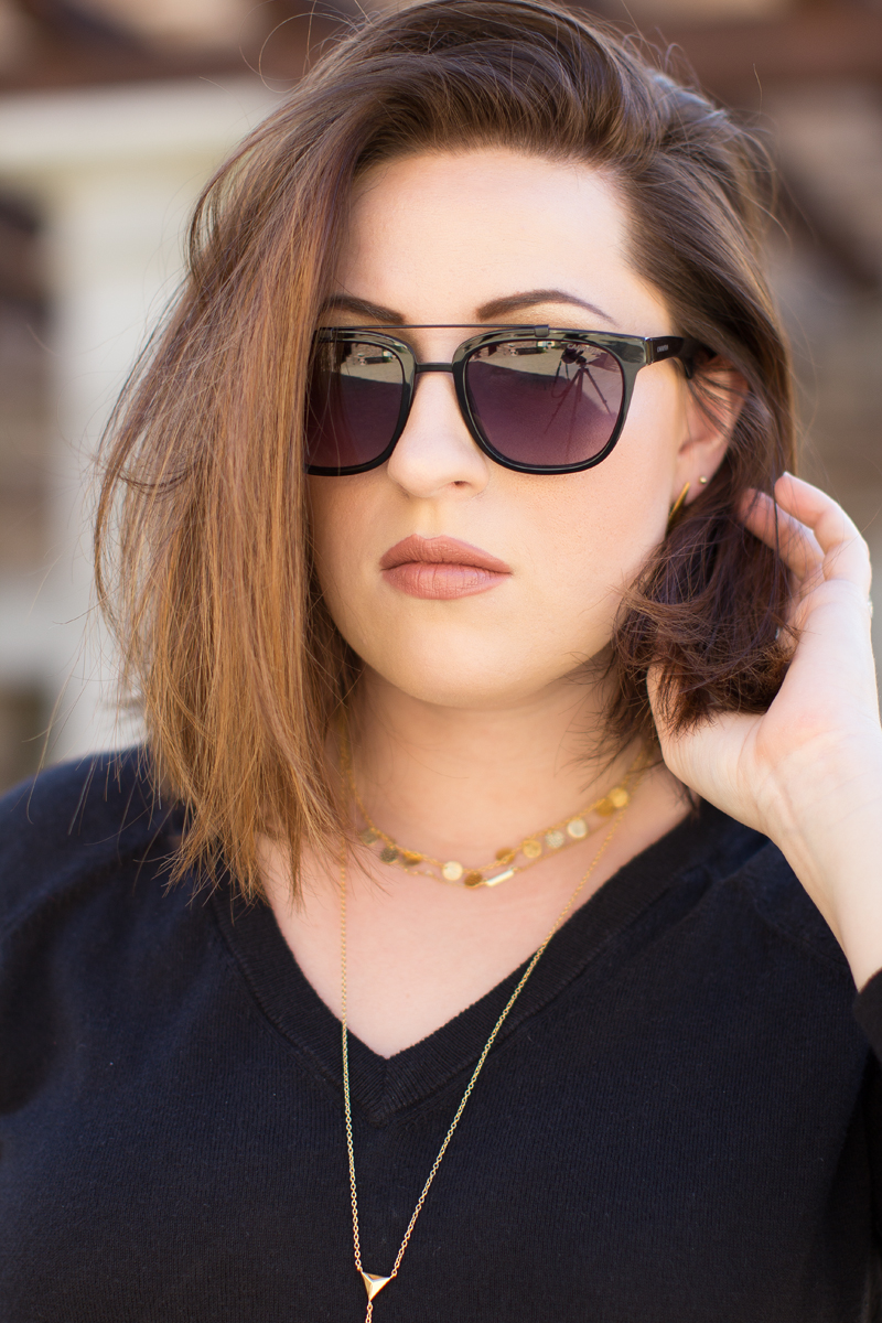 carrera browbar sunglasses, gorjana layered necklaces