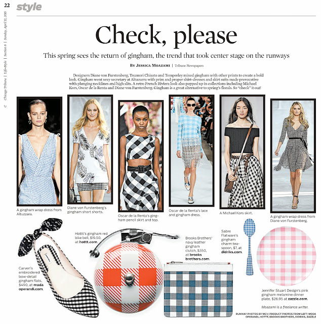 Gingham fashion for spring in the Chicago Tribune by Jessica Moazami