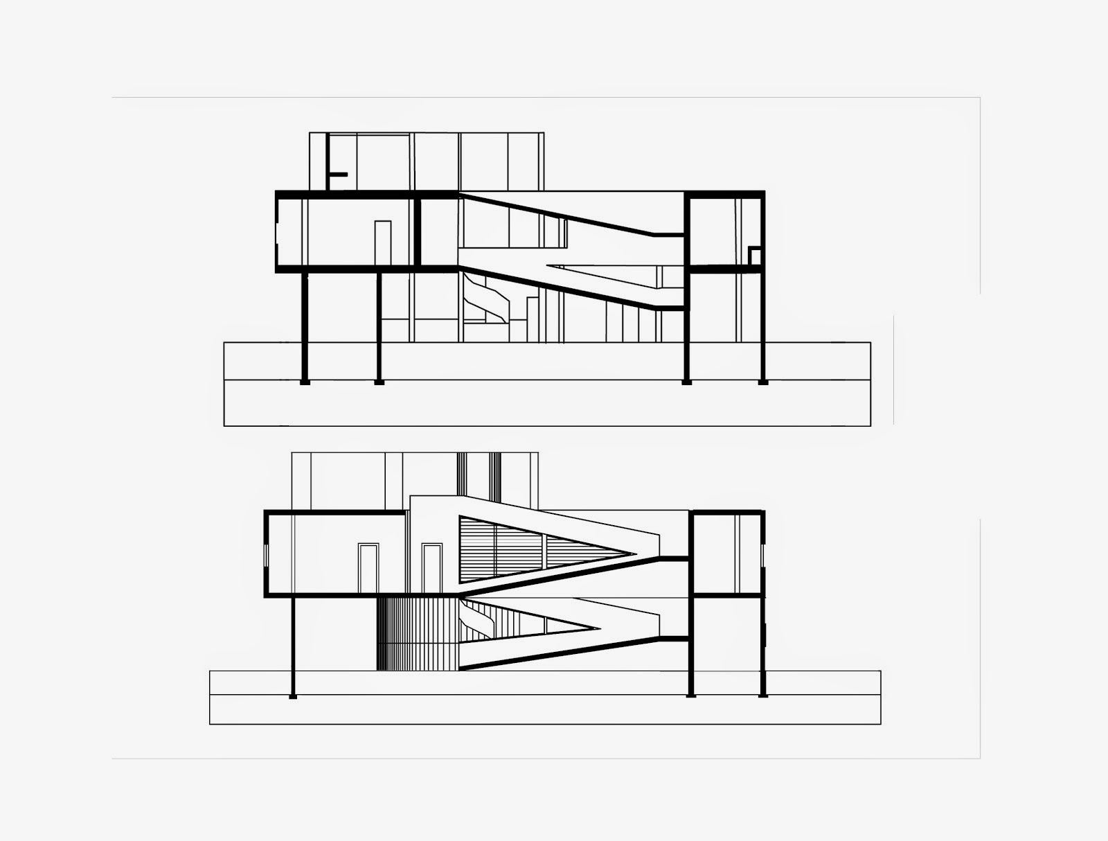 Section Elevation Plan View : Plans and sections villa savoye