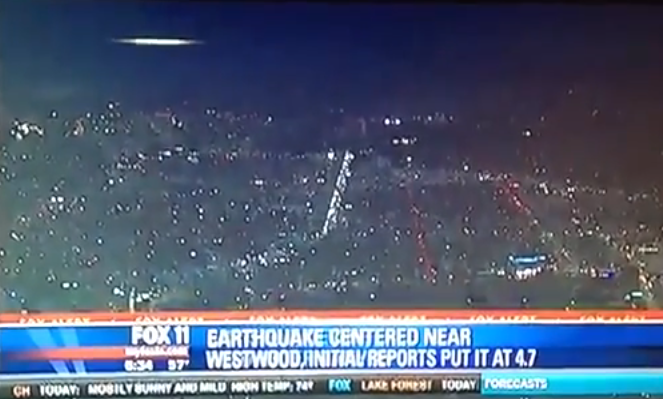 Massive UFO caught on Fox News over earthquake center in Westwood, California  Ufo