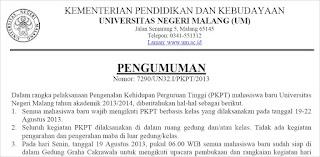 Jadwal Kegiatan PKTP UM Mahasiswa Baru 2013