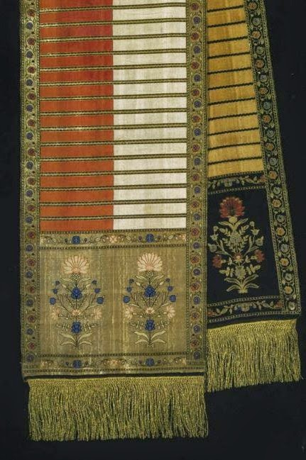 Example of the Cornflower design, Sluck sash, 18th century
