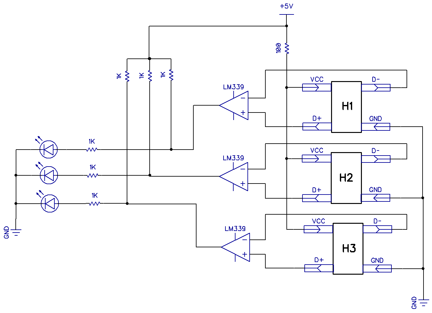 This schematic diagram shows how to test the hall effect sensors: