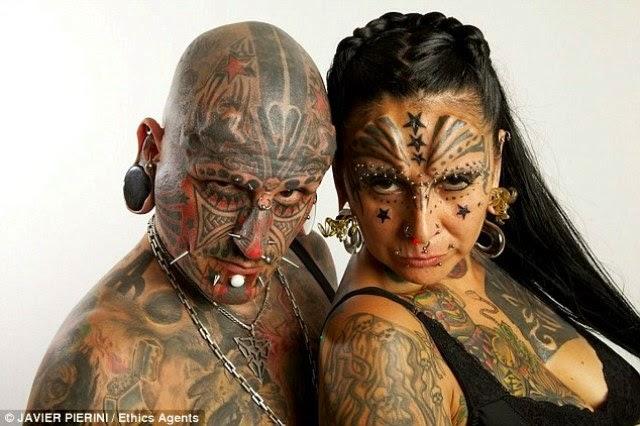 Argentine:Umugore n'umugabo 90% by'umubiri ni amaherena na tattoo