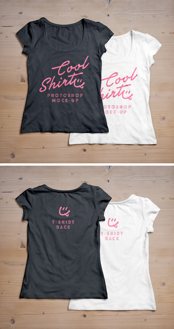 Download T-shirt Mockup PSD Terbaru Gratis - Woman T-Shirt MockUp PSD #2