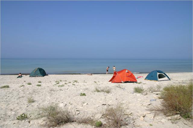 Казахстан, Казахский залив, утро, побережье, стоянка, мыс Ракушечный.