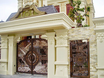 Gate Design With Tiles And Dark Paint Colors To Help Highlight The  Architecture Of The House More.
