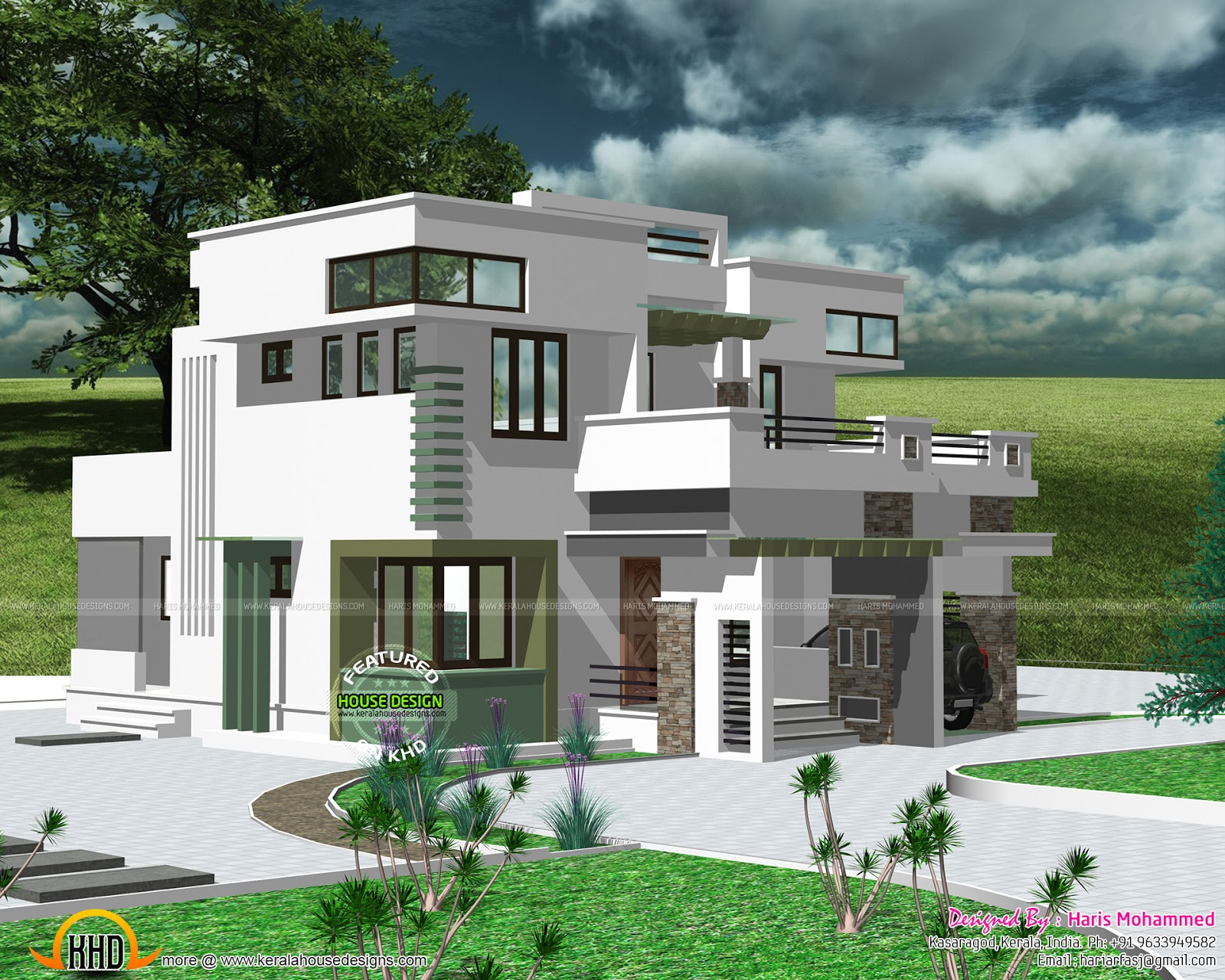 1930 Sq Ft Modern Flat Roof House Kerala Home Design And