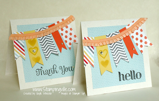 Happy Ruffle Trim Banner Cards by Stampingville