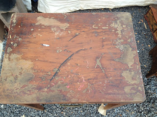 antique seing table before