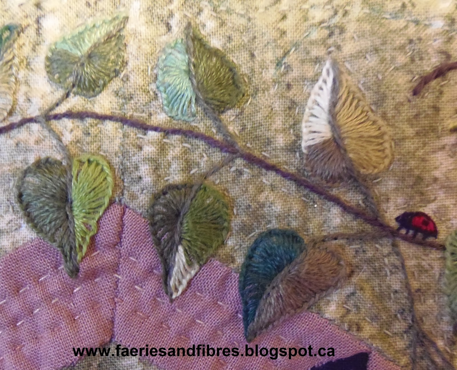 Faeries and fibres tutorial embroidering leaf berry
