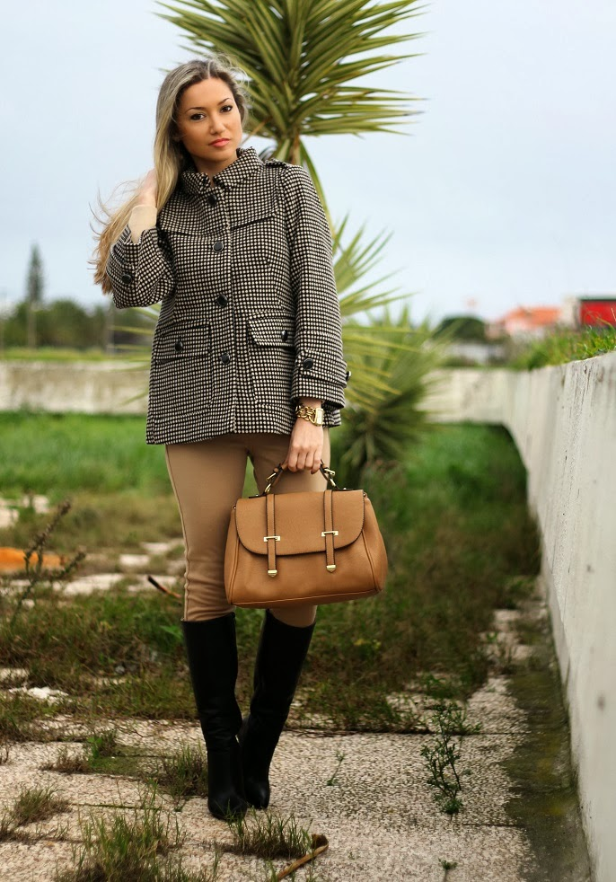 look do dia, camel, preto, casaco, coat, leggings, high boots, polka dots, patterns, birthday, cs hotel do lago, montargil, alto alentejo, satchel bag, zara, sfera, zilian, dkny, woman fashion, moda mulher, streetstyle, cláudia nascimento, blog de moda, portugal