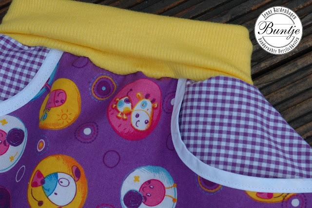 Pumphose Ballonhose Sarouelhose Hose Mitwachsen Baby Kleinkind 74 80 Baumwolle Bündchen lila gelb Tiere Sommer handmade Buntje