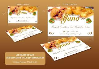 Realisation De Cartes Visite Et Commerciales Pour YANO Traiteur A Saly