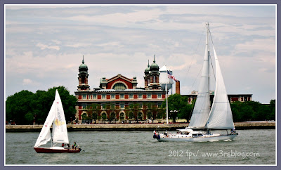 Sailing by Ellis Island. 6/3/2012 (edited photo using PicMonkey)